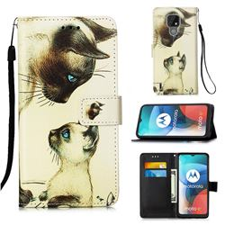 Cat Confrontation Matte Leather Wallet Phone Case for Motorola Moto E7(Moto E 2020)