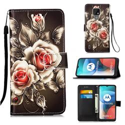 Black Rose Matte Leather Wallet Phone Case for Motorola Moto E7(Moto E 2020)