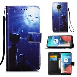 Cat and Moon Matte Leather Wallet Phone Case for Motorola Moto E7(Moto E 2020)