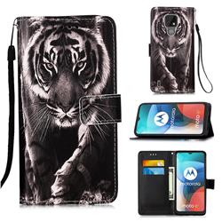 Black and White Tiger Matte Leather Wallet Phone Case for Motorola Moto E7(Moto E 2020)