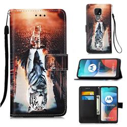 Cat and Tiger Matte Leather Wallet Phone Case for Motorola Moto E7(Moto E 2020)