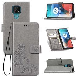 Embossing Imprint Four-Leaf Clover Leather Wallet Case for Motorola Moto E7(Moto E 2020) - Grey
