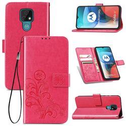 Embossing Imprint Four-Leaf Clover Leather Wallet Case for Motorola Moto E7(Moto E 2020) - Rose Red