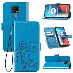 Embossing Imprint Four-Leaf Clover Leather Wallet Case for Motorola Moto E7(Moto E 2020) - Blue