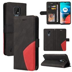 Luxury Two-color Stitching Leather Wallet Case Cover for Motorola Moto E7 - Black