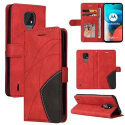 Luxury Two-color Stitching Leather Wallet Case Cover for Motorola Moto E7 - Red