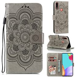 Intricate Embossing Datura Solar Leather Wallet Case for Motorola Moto E7 Power - Gray