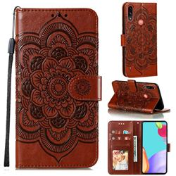 Intricate Embossing Datura Solar Leather Wallet Case for Motorola Moto E7 Power - Brown