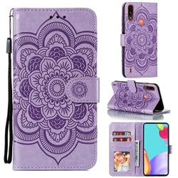 Intricate Embossing Datura Solar Leather Wallet Case for Motorola Moto E7 Power - Purple
