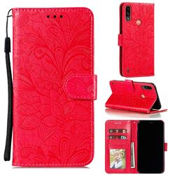 Intricate Embossing Lace Jasmine Flower Leather Wallet Case for Motorola Moto E7 Power - Red