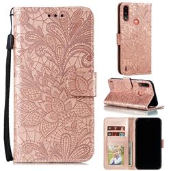Intricate Embossing Lace Jasmine Flower Leather Wallet Case for Motorola Moto E7 Power - Rose Gold