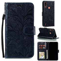 Intricate Embossing Lace Jasmine Flower Leather Wallet Case for Motorola Moto E7 Power - Dark Blue