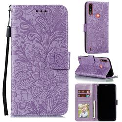 Intricate Embossing Lace Jasmine Flower Leather Wallet Case for Motorola Moto E7 Power - Purple