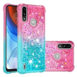 Rainbow Gradient Liquid Glitter Quicksand Sequins Phone Case for Motorola Moto E7 Power - Pink Blue