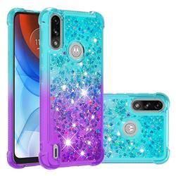 Rainbow Gradient Liquid Glitter Quicksand Sequins Phone Case for Motorola Moto E7 Power - Blue Purple