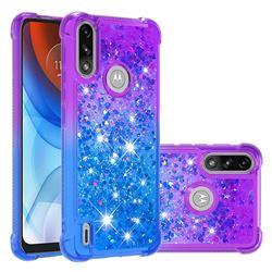 Rainbow Gradient Liquid Glitter Quicksand Sequins Phone Case for Motorola Moto E7 Power - Purple Blue