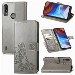 Embossing Imprint Four-Leaf Clover Leather Wallet Case for Motorola Moto E7 Power - Grey
