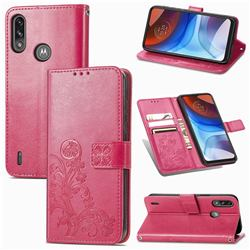 Embossing Imprint Four-Leaf Clover Leather Wallet Case for Motorola Moto E7 Power - Rose Red