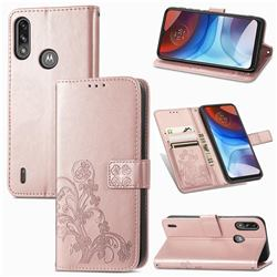 Embossing Imprint Four-Leaf Clover Leather Wallet Case for Motorola Moto E7 Power - Rose Gold