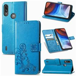 Embossing Imprint Four-Leaf Clover Leather Wallet Case for Motorola Moto E7 Power - Blue