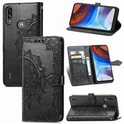 Embossing Imprint Mandala Flower Leather Wallet Case for Motorola Moto E7 Power - Black