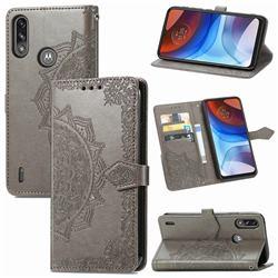 Embossing Imprint Mandala Flower Leather Wallet Case for Motorola Moto E7 Power - Gray