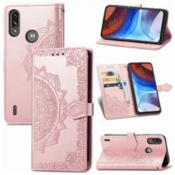 Embossing Imprint Mandala Flower Leather Wallet Case for Motorola Moto E7 Power - Rose Gold
