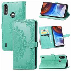 Embossing Imprint Mandala Flower Leather Wallet Case for Motorola Moto E7 Power - Green