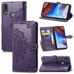 Embossing Imprint Mandala Flower Leather Wallet Case for Motorola Moto E7 Power - Purple