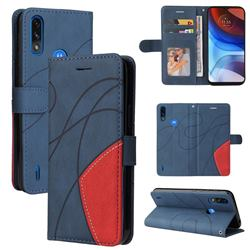 Luxury Two-color Stitching Leather Wallet Case Cover for Motorola Moto E7 Power - Blue