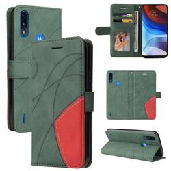 Luxury Two-color Stitching Leather Wallet Case Cover for Motorola Moto E7 Power - Green
