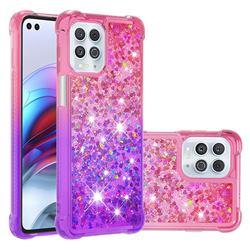 Rainbow Gradient Liquid Glitter Quicksand Sequins Phone Case for Motorola Edge S - Pink Purple