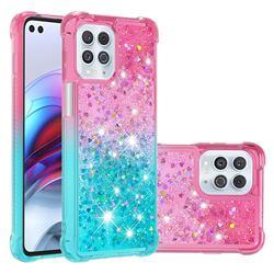 Rainbow Gradient Liquid Glitter Quicksand Sequins Phone Case for Motorola Edge S - Pink Blue