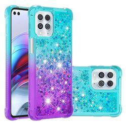 Rainbow Gradient Liquid Glitter Quicksand Sequins Phone Case for Motorola Edge S - Blue Purple