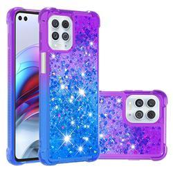 Rainbow Gradient Liquid Glitter Quicksand Sequins Phone Case for Motorola Edge S - Purple Blue