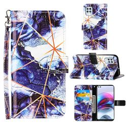 Starry Blue Stitching Color Marble Leather Wallet Case for Motorola Edge S