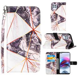 Black and White Stitching Color Marble Leather Wallet Case for Motorola Edge S
