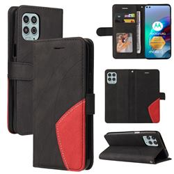 Luxury Two-color Stitching Leather Wallet Case Cover for Motorola Edge S - Black