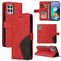 Luxury Two-color Stitching Leather Wallet Case Cover for Motorola Edge S - Red