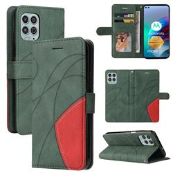 Luxury Two-color Stitching Leather Wallet Case Cover for Motorola Edge S - Green