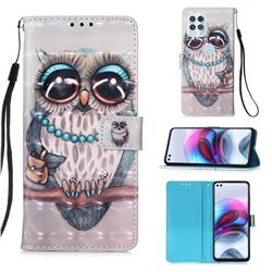 Sweet Gray Owl 3D Painted Leather Wallet Case for Motorola Edge S