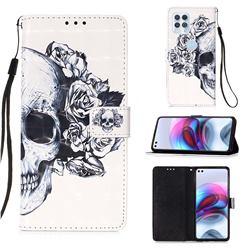 Skull Flower 3D Painted Leather Wallet Case for Motorola Edge S