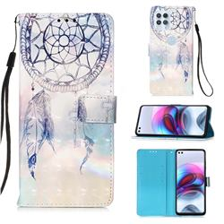 Fantasy Campanula 3D Painted Leather Wallet Case for Motorola Edge S