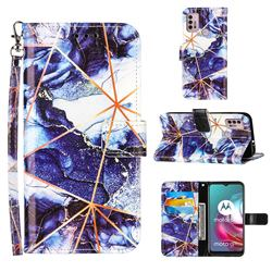 Starry Blue Stitching Color Marble Leather Wallet Case for Motorola Moto G10