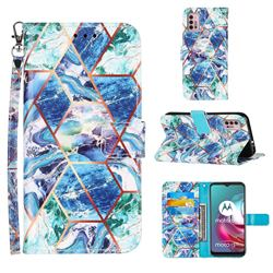Green and Blue Stitching Color Marble Leather Wallet Case for Motorola Moto G10