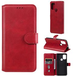 Retro Calf Matte Leather Wallet Phone Case for Motorola Moto G10 - Red