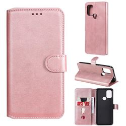 Retro Calf Matte Leather Wallet Phone Case for Motorola Moto G10 - Pink
