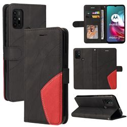 Luxury Two-color Stitching Leather Wallet Case Cover for Motorola Moto G10 - Black