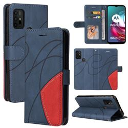 Luxury Two-color Stitching Leather Wallet Case Cover for Motorola Moto G10 - Blue