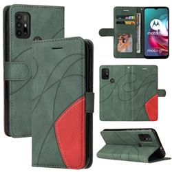 Luxury Two-color Stitching Leather Wallet Case Cover for Motorola Moto G10 - Green